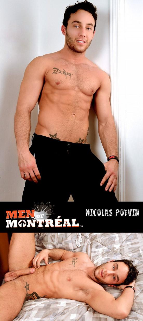 Nicolas Potvin jerks his uncut cock